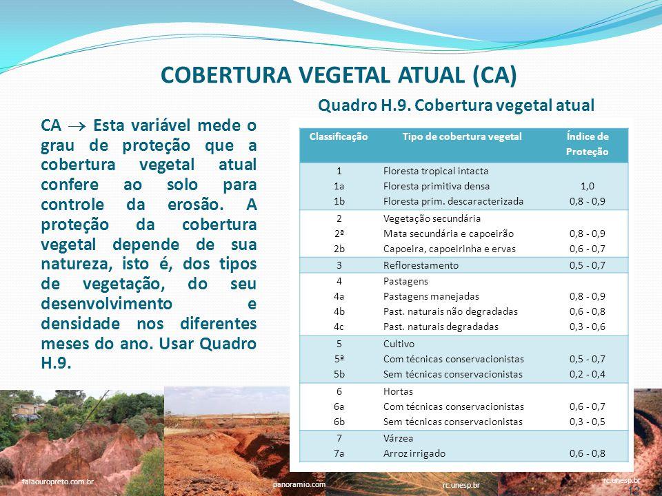 12 faperj.br rc.unesp.br panoramio.com falaouropreto.com.br rc.unesp.br 12 CA Esta variável mede o grau de proteção que a cobertura vegetal atual confere ao solo para controle da erosão.