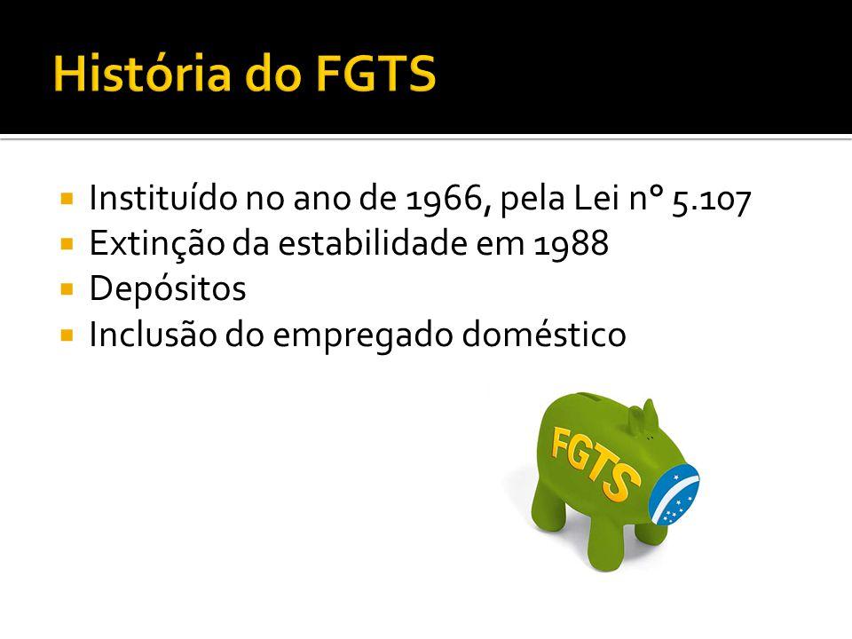 Instituído no ano de 1966, pela Lei n° 5.107 Extinção da estabilidade em 1988 Depósitos Inclusão do empregado doméstico