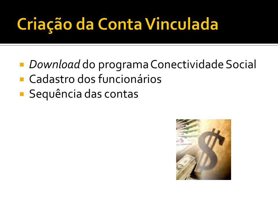 Download do programa Conectividade Social Cadastro dos funcionários Sequência das contas