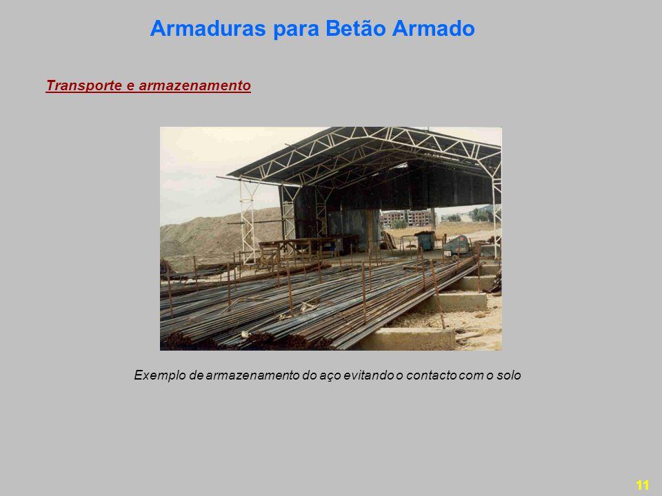 11 Transporte e armazenamento Exemplo de armazenamento do aço evitando o contacto com o solo Armaduras para Betão Armado
