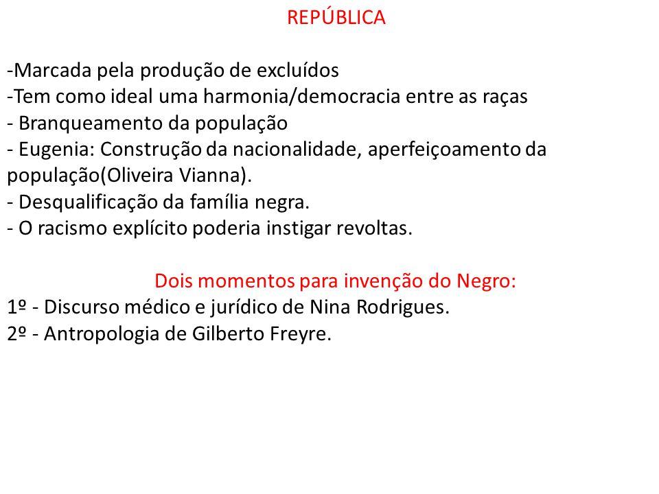 REPÚBLICA -Marcada pela produção de excluídos -Tem como ideal uma harmonia/democracia entre as raças - Branqueamento da população - Eugenia: Construçã