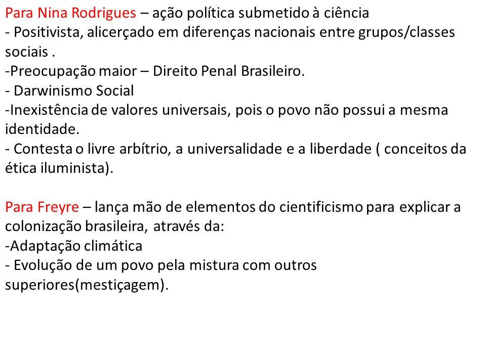 Para Nina Rodrigues – ação política submetido à ciência - Positivista, alicerçado em diferenças nacionais entre grupos/classes sociais. -Preocupação m