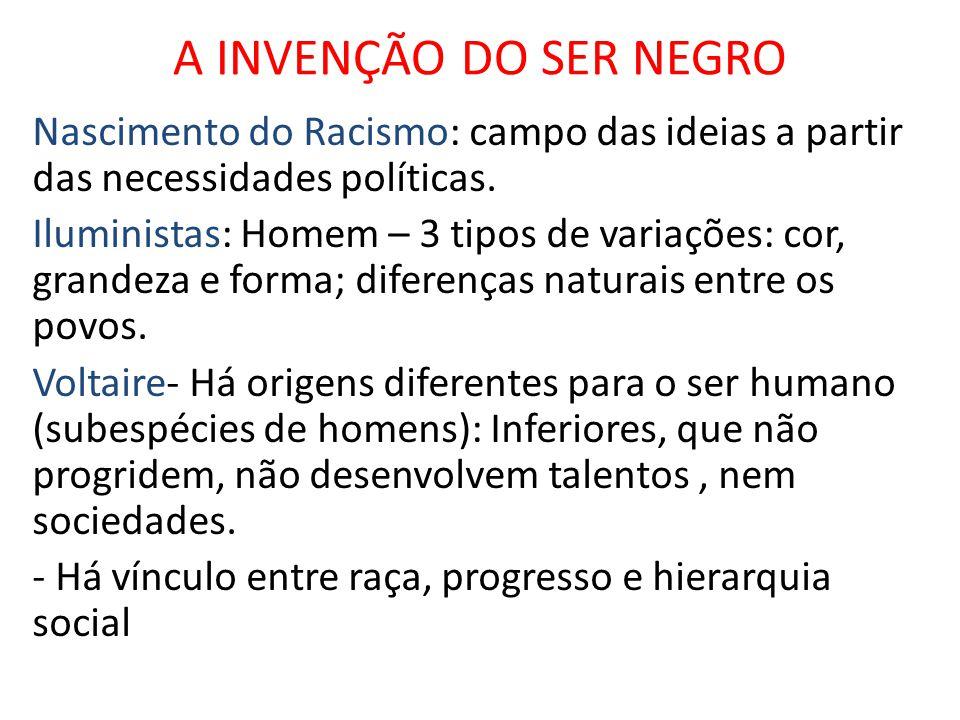 A INVENÇÃO DO SER NEGRO Nascimento do Racismo: campo das ideias a partir das necessidades políticas. Iluministas: Homem – 3 tipos de variações: cor, g