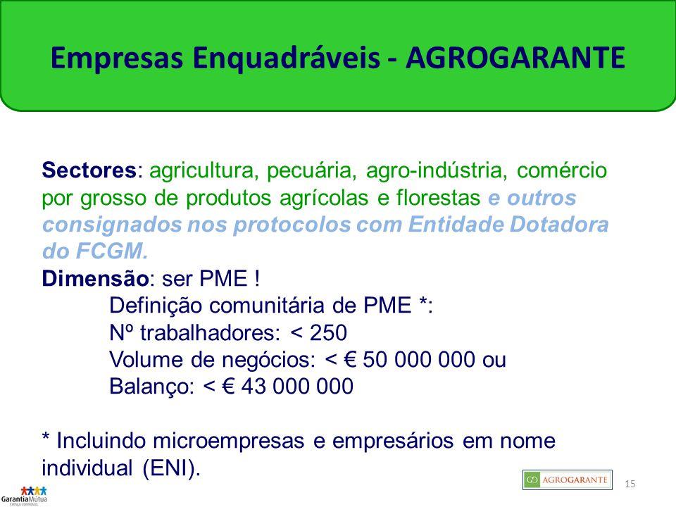 15 Empresas Enquadráveis - AGROGARANTE Sectores: agricultura, pecuária, agro-indústria, comércio por grosso de produtos agrícolas e florestas e outros consignados nos protocolos com Entidade Dotadora do FCGM.
