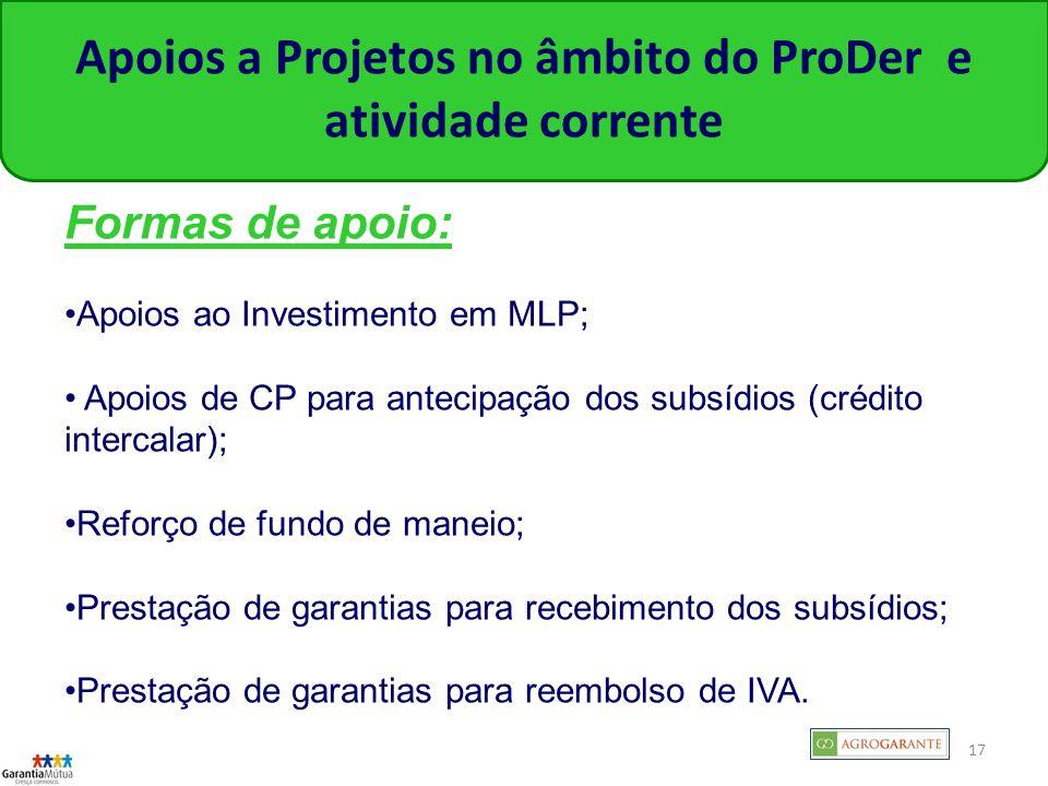 17 Apoios a Projetos no âmbito do ProDer e atividade corrente Formas de apoio: Apoios ao Investimento em MLP; Apoios de CP para antecipação dos subsídios (crédito intercalar); Reforço de fundo de maneio; Prestação de garantias para recebimento dos subsídios; Prestação de garantias para reembolso de IVA.