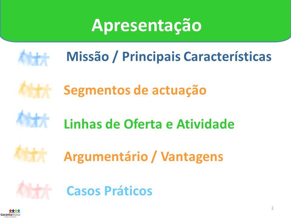 2 Missão / Principais Características Segmentos de actuação Linhas de Oferta e Atividade Apresentação Argumentário / Vantagens Casos Práticos