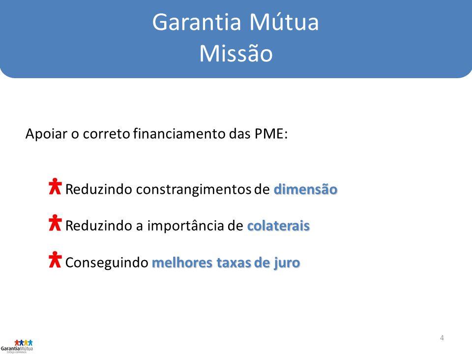 4 Garantia Mútua Missão Apoiar o correto financiamento das PME: dimensão Reduzindo constrangimentos de dimensão colaterais Reduzindo a importância de colaterais melhores taxas de juro Conseguindo melhores taxas de juro