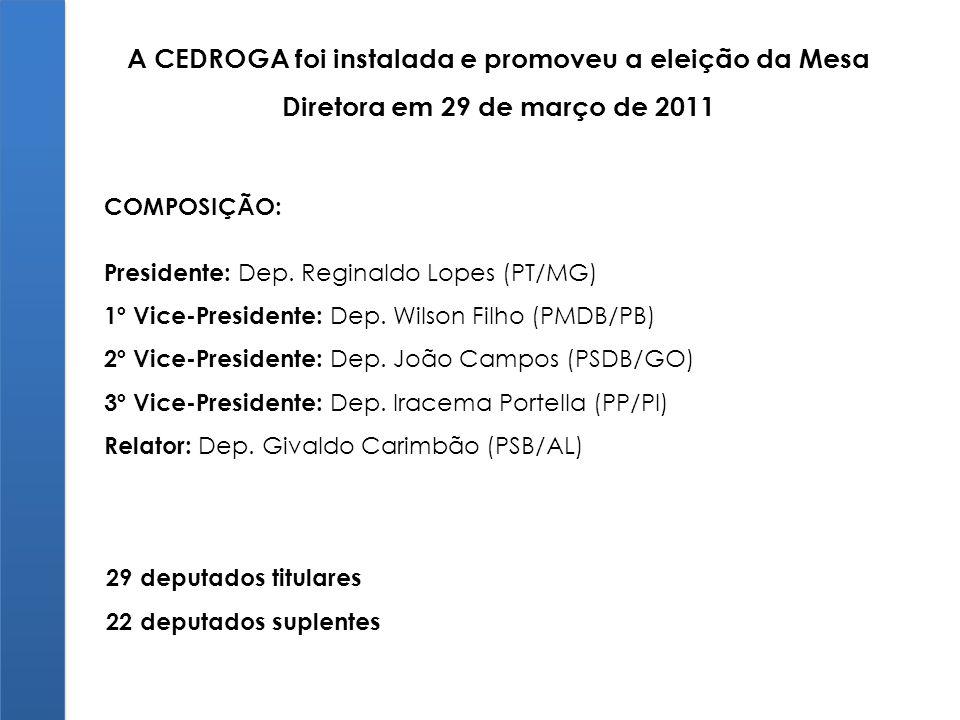 A CEDROGA foi instalada e promoveu a eleição da Mesa Diretora em 29 de março de 2011 COMPOSIÇÃO: Presidente: Dep. Reginaldo Lopes (PT/MG) 1º Vice-Pres