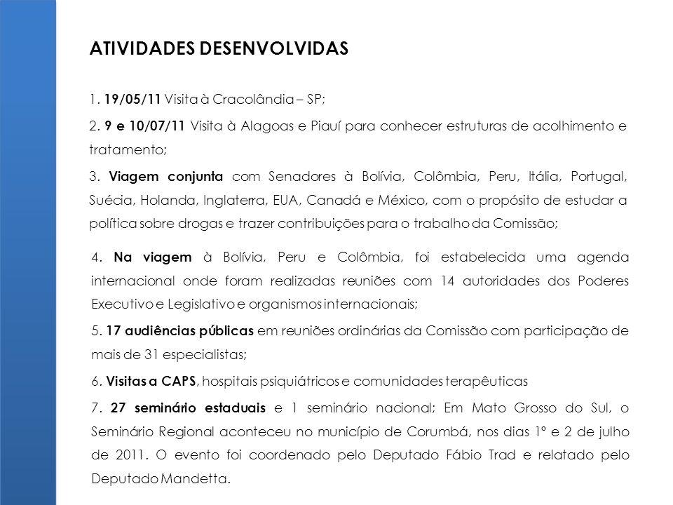 1. 19/05/11 Visita à Cracolândia – SP; 2. 9 e 10/07/11 Visita à Alagoas e Piauí para conhecer estruturas de acolhimento e tratamento; 3. Viagem conjun