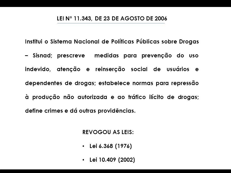 LEI N° 11.343, DE 23 DE AGOSTO DE 2006 Institui o Sistema Nacional de Políticas Públicas sobre Drogas – Sisnad; prescreve medidas para prevenção do us