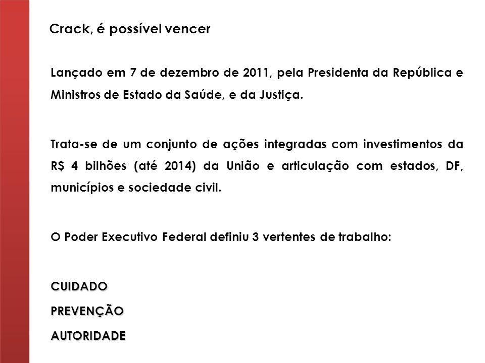Lançado em 7 de dezembro de 2011, pela Presidenta da República e Ministros de Estado da Saúde, e da Justiça. Trata-se de um conjunto de ações integrad