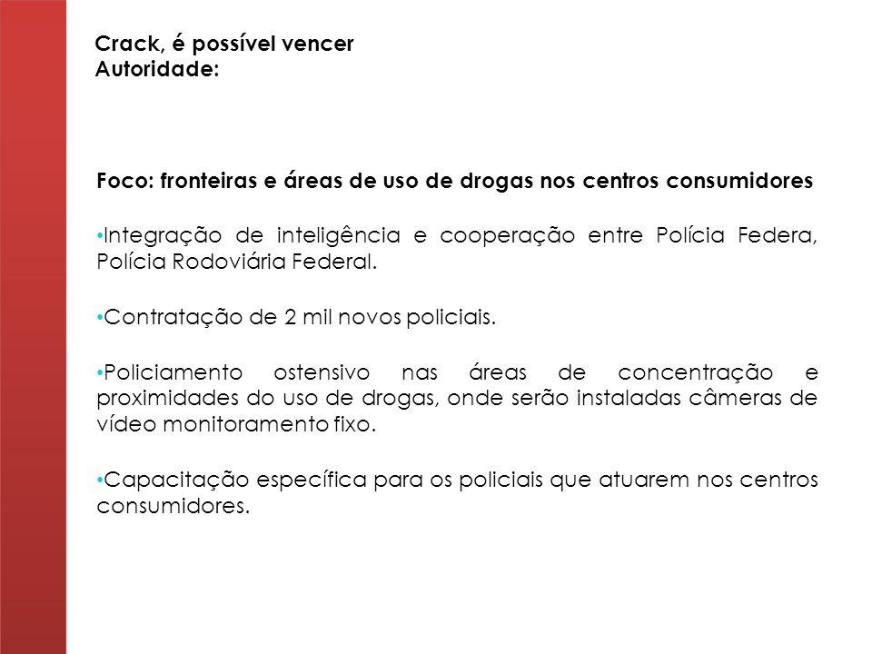 Foco: fronteiras e áreas de uso de drogas nos centros consumidores Integração de inteligência e cooperação entre Polícia Federa, Polícia Rodoviária Fe