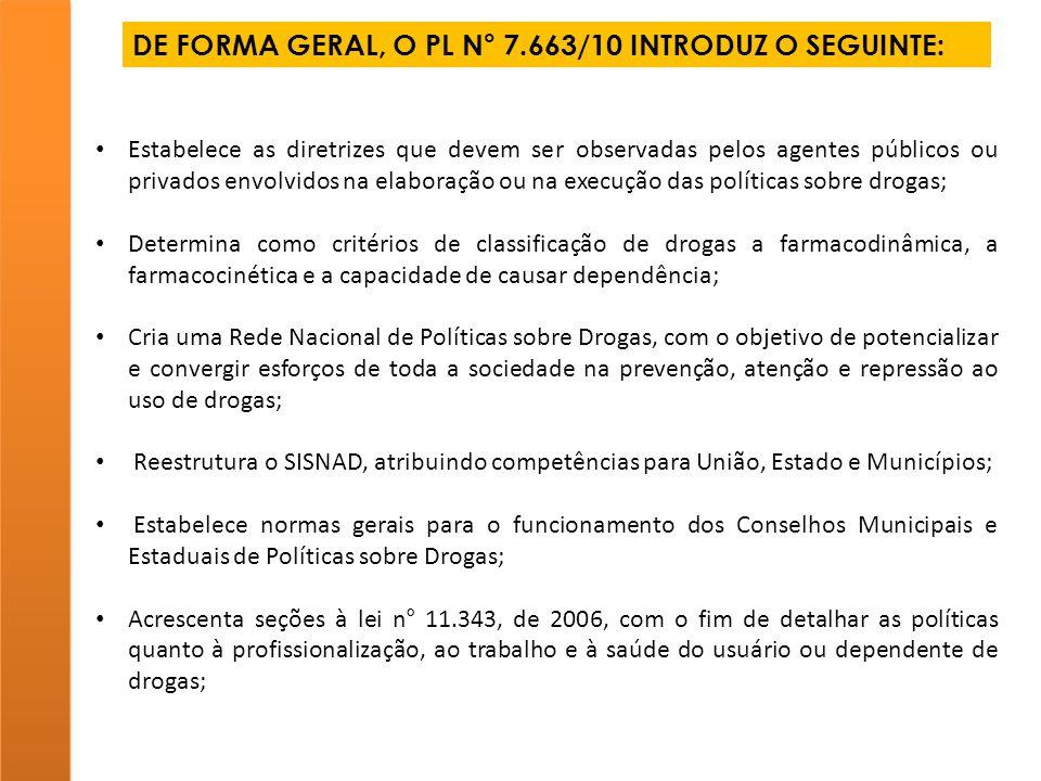 DE FORMA GERAL, O PL N° 7.663/10 INTRODUZ O SEGUINTE: Estabelece as diretrizes que devem ser observadas pelos agentes públicos ou privados envolvidos