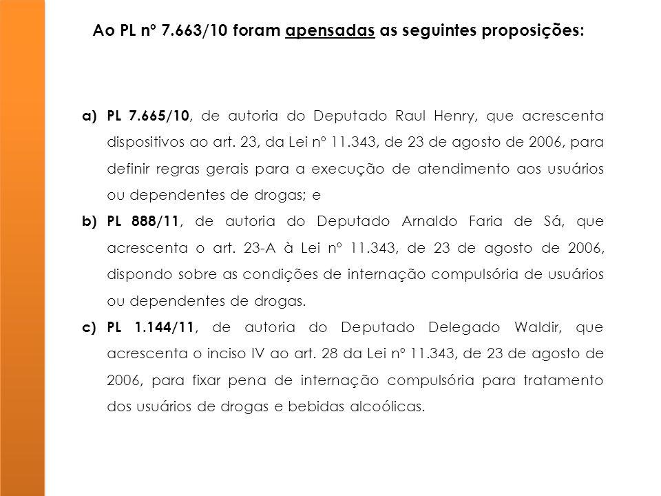 Ao PL nº 7.663/10 foram apensadas as seguintes proposições: a)PL 7.665/10, de autoria do Deputado Raul Henry, que acrescenta dispositivos ao art. 23,