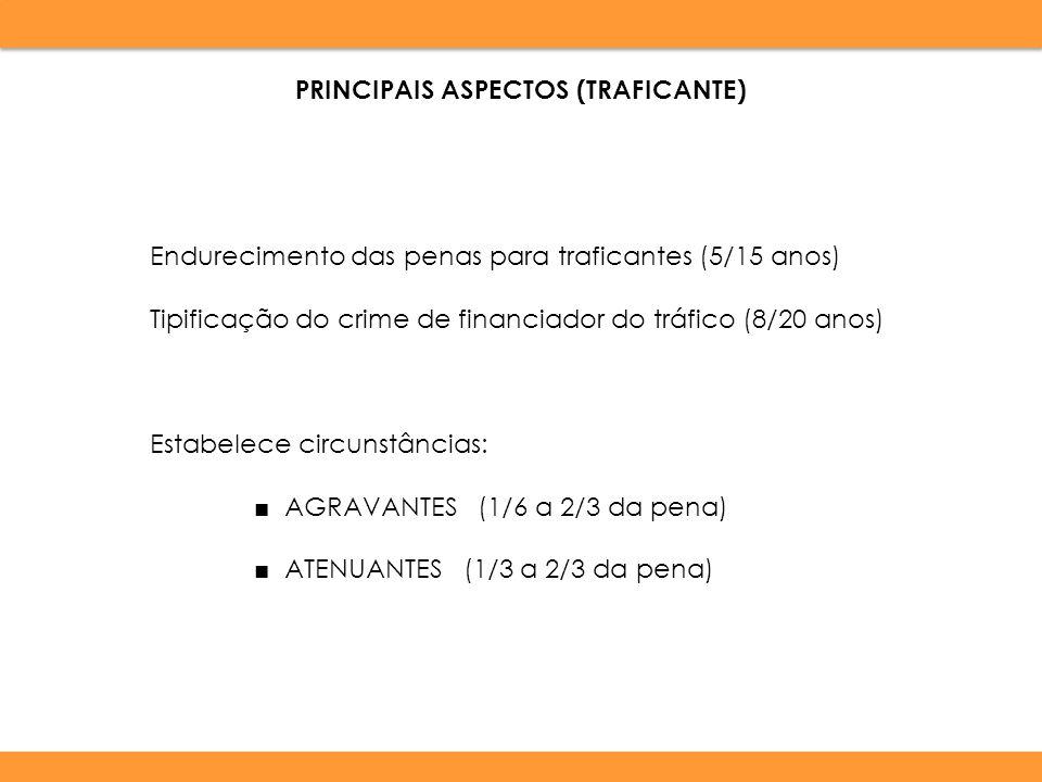 Endurecimento das penas para traficantes (5/15 anos) Tipificação do crime de financiador do tráfico (8/20 anos) Estabelece circunstâncias: AGRAVANTES