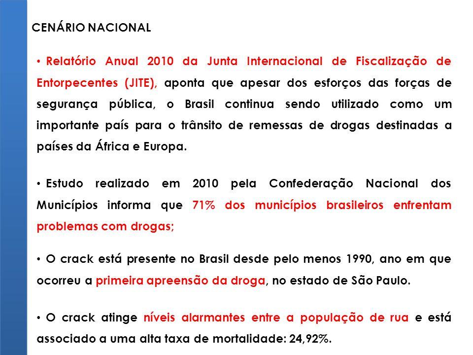 Relatório Anual 2010 da Junta Internacional de Fiscalização de Entorpecentes (JITE), aponta que apesar dos esforços das forças de segurança pública, o