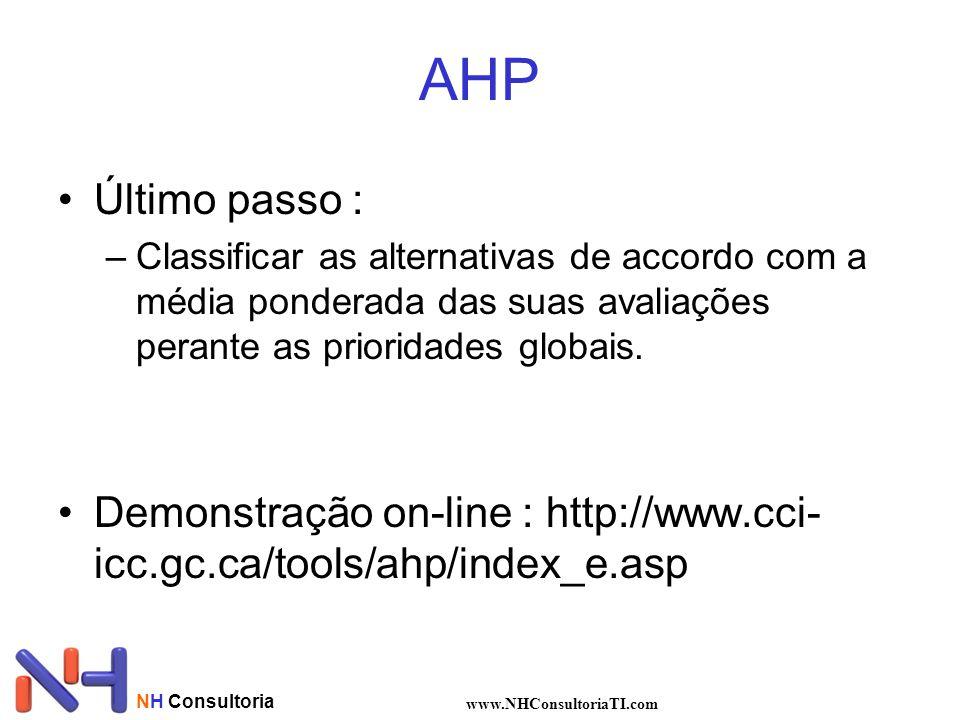 NH Consultoria www.NHConsultoriaTI.com AHP Último passo : –Classificar as alternativas de accordo com a média ponderada das suas avaliações perante as