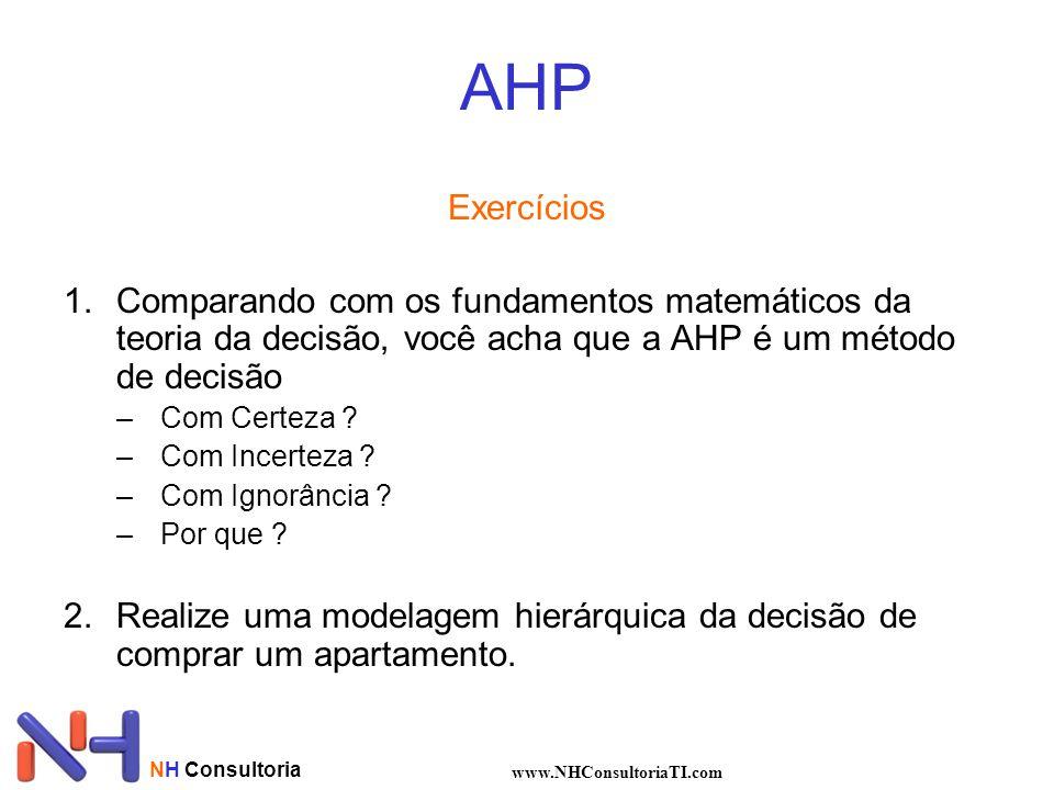 NH Consultoria www.NHConsultoriaTI.com AHP Exercícios 1.Comparando com os fundamentos matemáticos da teoria da decisão, você acha que a AHP é um métod