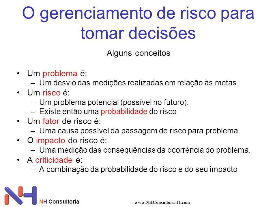 O gerenciamento de risco para tomar decisões Alguns conceitos Um problema é: –Um desvio das medições realizadas em relação às metas. Um risco é: –Um p