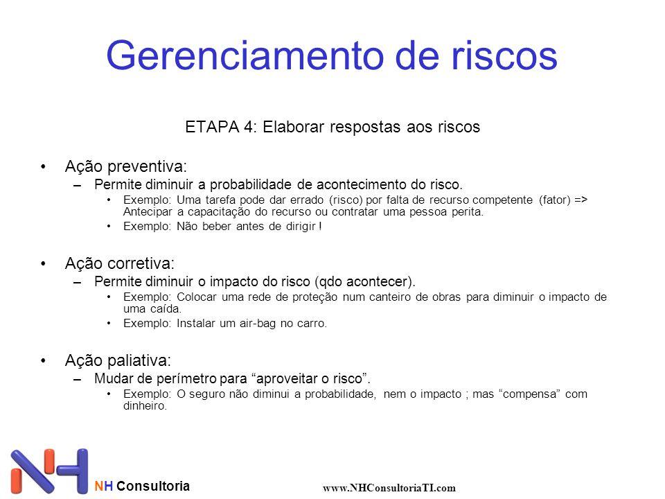 Gerenciamento de riscos ETAPA 4: Elaborar respostas aos riscos Ação preventiva: –Permite diminuir a probabilidade de acontecimento do risco. Exemplo: