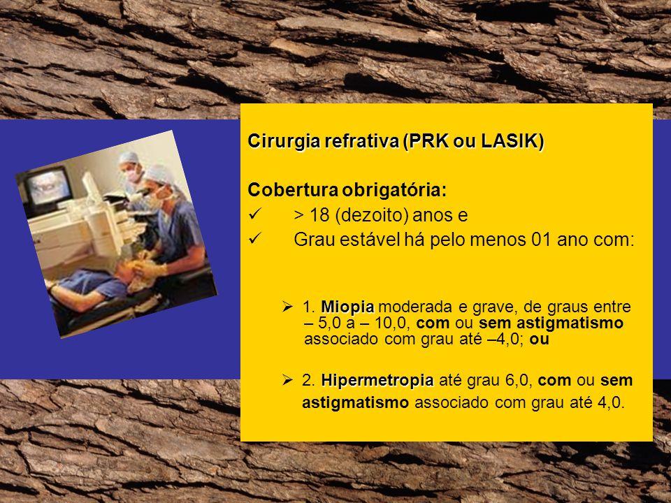 Cirurgia refrativa (PRK ou LASIK) Cobertura obrigatória: > 18 (dezoito) anos e Grau estável há pelo menos 01 ano com: Miopia 1. Miopia moderada e grav
