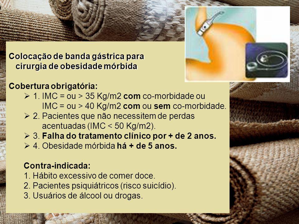 Colocação de banda gástrica para cirurgia de obesidade mórbida cirurgia de obesidade mórbida Cobertura obrigatória: 1. IMC = ou > 35 Kg/m2 com co-morb