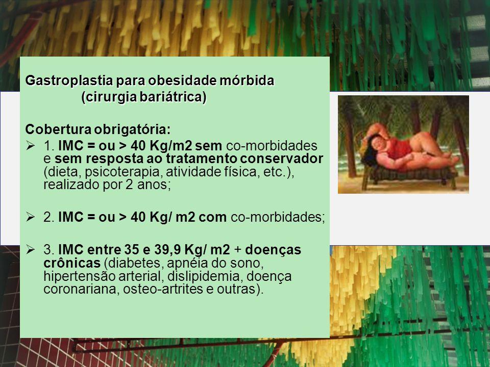 Gastroplastia para obesidade mórbida (cirurgia bariátrica) (cirurgia bariátrica) Cobertura obrigatória: 1. IMC = ou > 40 Kg/m2 sem co-morbidades e sem