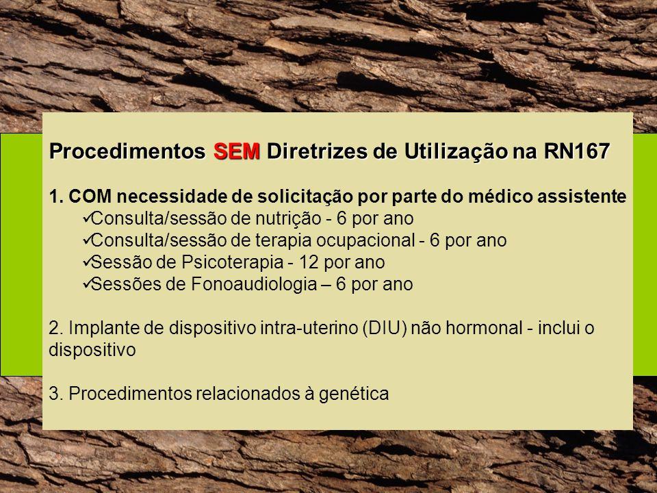 Procedimentos SEM Diretrizes de Utilização na RN167 1. COM necessidade de solicitação por parte do médico assistente Consulta/sessão de nutrição - 6 p