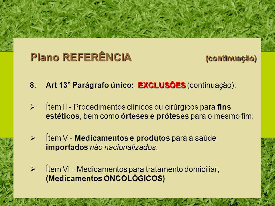 Plano REFERÊNCIA (continuação) EXCLUSÕES 8.Art 13° Parágrafo único: EXCLUSÕES (continuação): Ítem II - Procedimentos clínicos ou cirúrgicos para fins