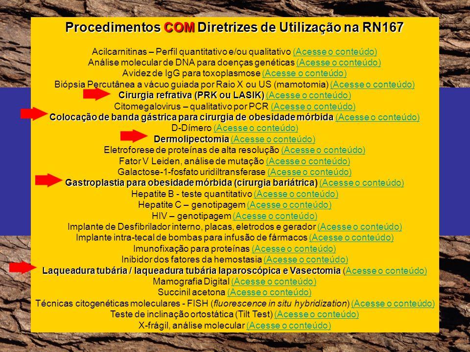 Procedimentos COM Diretrizes de Utilização na RN167 Acilcarnitinas – Perfil quantitativo e/ou qualitativo (Acesse o conteúdo)(Acesse o conteúdo) Análi