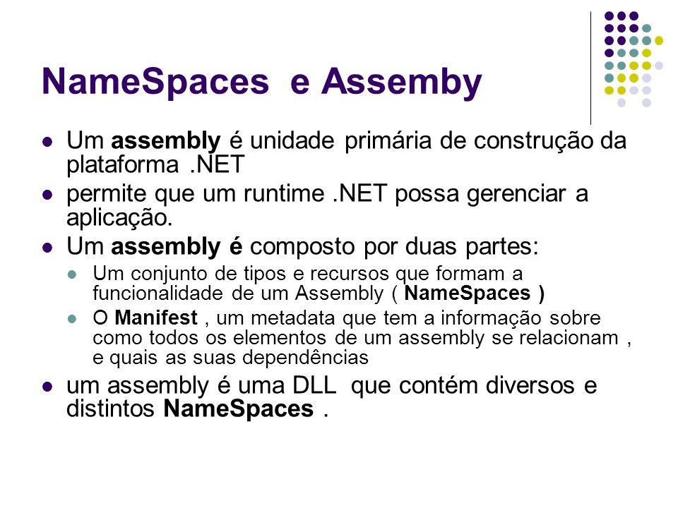 NameSpaces e Assemby Um assembly é unidade primária de construção da plataforma.NET permite que um runtime.NET possa gerenciar a aplicação.