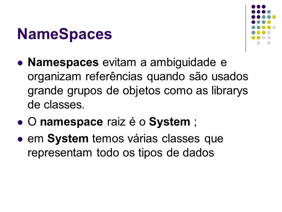 NameSpaces Namespaces evitam a ambiguidade e organizam referências quando são usados grande grupos de objetos como as librarys de classes.