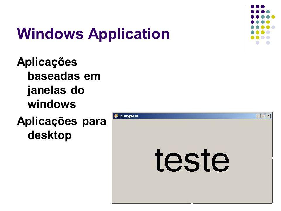 Windows Application Aplicações baseadas em janelas do windows Aplicações para desktop
