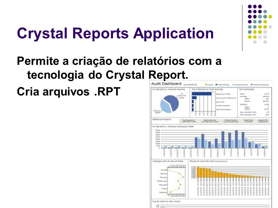 Crystal Reports Application Permite a criação de relatórios com a tecnologia do Crystal Report.