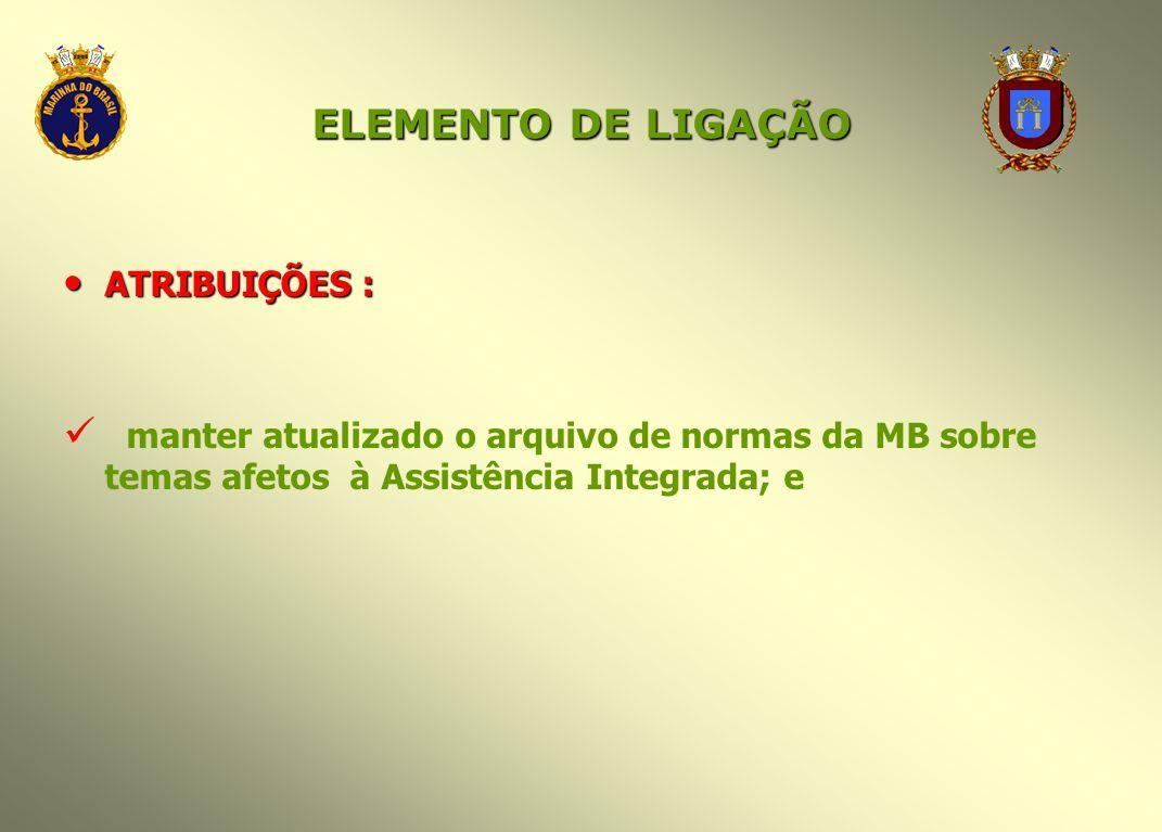 ELEMENTO DE LIGAÇÃO ATRIBUIÇÕES : ATRIBUIÇÕES : manter atualizado o arquivo de normas da MB sobre temas afetos à Assistência Integrada; e
