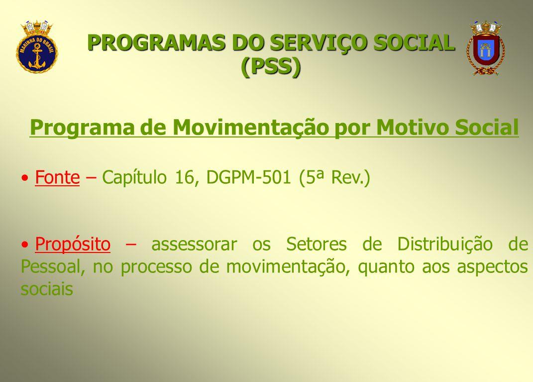 Programa de Movimentação por Motivo Social Fonte – Capítulo 16, DGPM-501 (5ª Rev.) Propósito – assessorar os Setores de Distribuição de Pessoal, no pr
