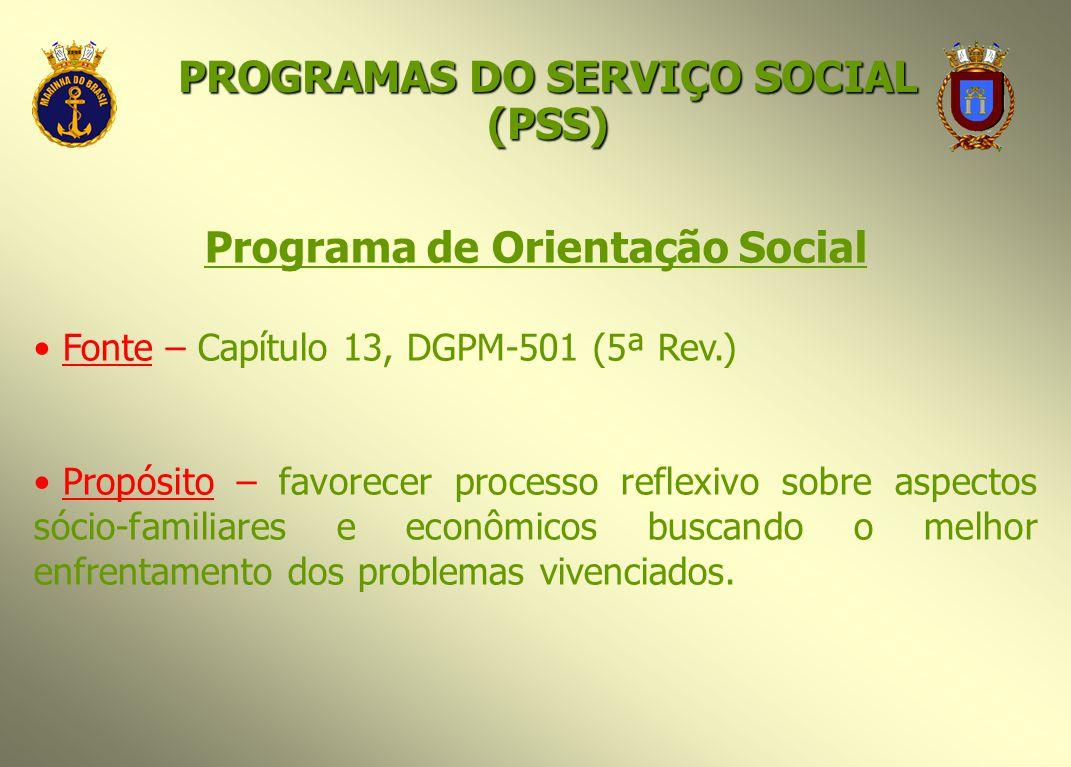Programa de Orientação Social Fonte – Capítulo 13, DGPM-501 (5ª Rev.) Propósito – favorecer processo reflexivo sobre aspectos sócio-familiares e econô