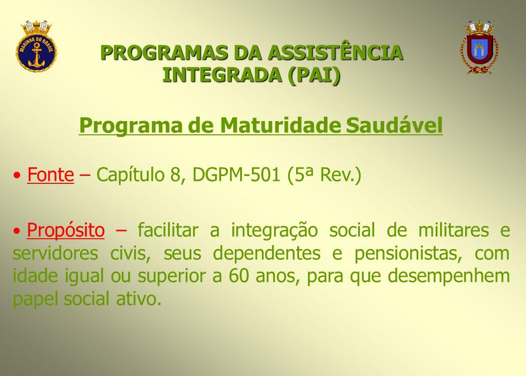 Programa de Maturidade Saudável Fonte – Capítulo 8, DGPM-501 (5ª Rev.) Propósito – facilitar a integração social de militares e servidores civis, seus
