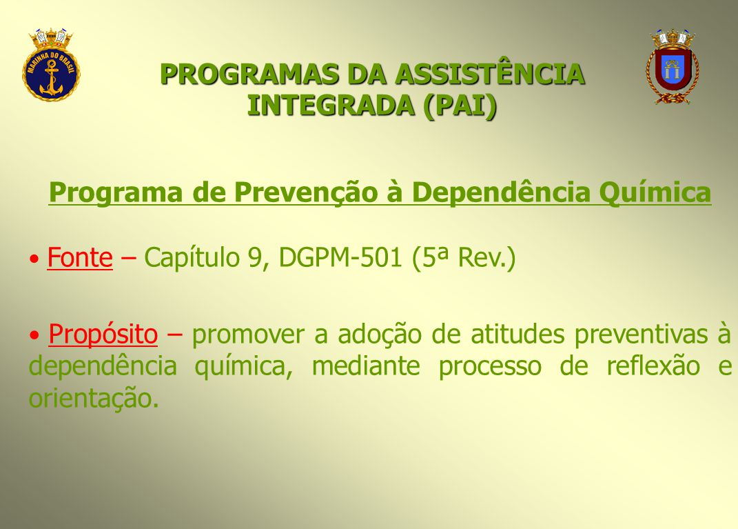 Programa de Prevenção à Dependência Química Fonte – Capítulo 9, DGPM-501 (5ª Rev.) Propósito – promover a adoção de atitudes preventivas à dependência