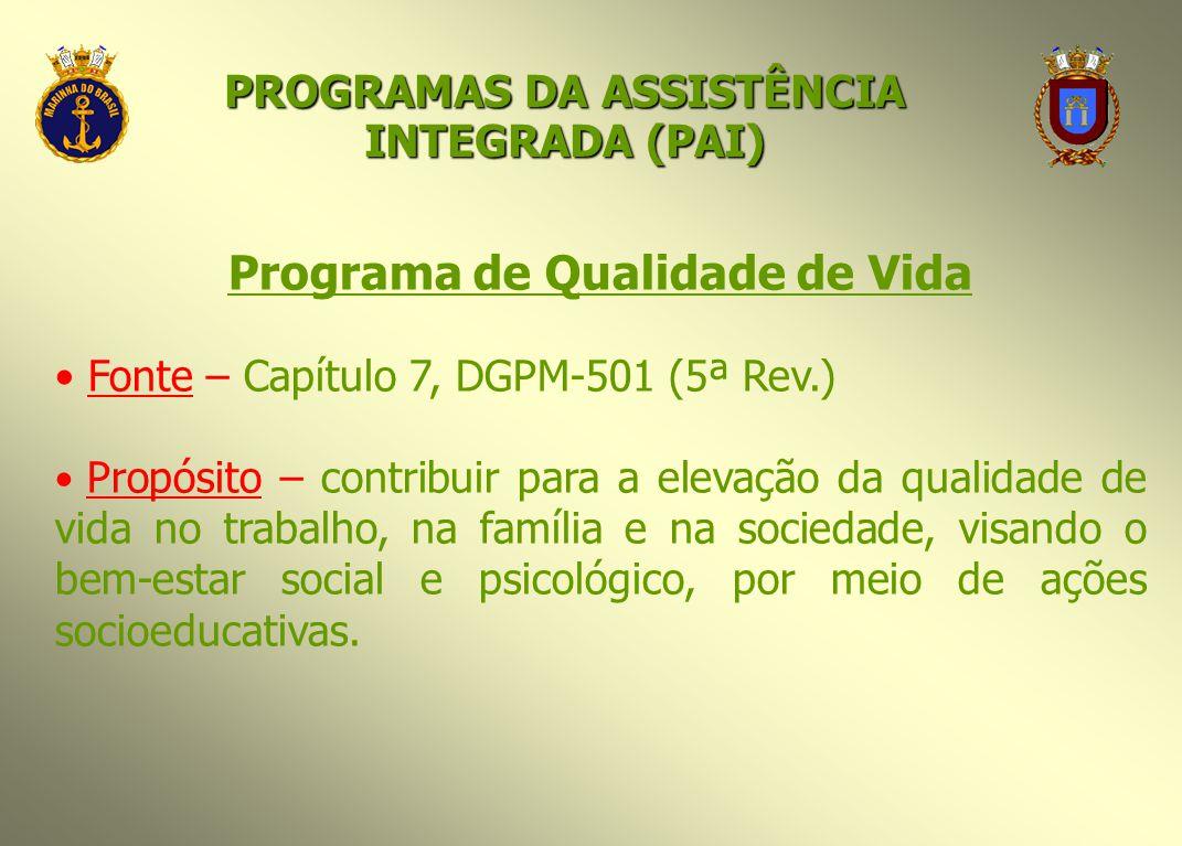 Programa de Qualidade de Vida Fonte – Capítulo 7, DGPM-501 (5ª Rev.) Propósito – contribuir para a elevação da qualidade de vida no trabalho, na famíl