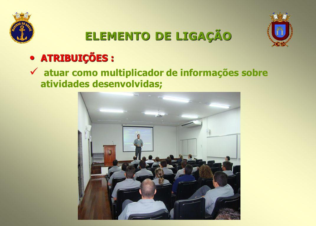 ELEMENTO DE LIGAÇÃO ATRIBUIÇÕES : ATRIBUIÇÕES : atuar como multiplicador de informações sobre atividades desenvolvidas;