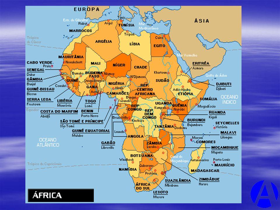 ÁFRICA É: O TERCEIRO MAIOR EM EXTENSÃO TERRITORIAL.