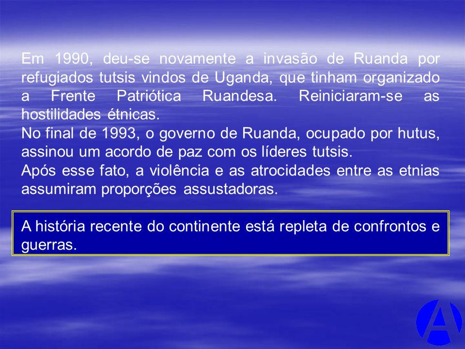 Em 1990, deu-se novamente a invasão de Ruanda por refugiados tutsis vindos de Uganda, que tinham organizado a Frente Patriótica Ruandesa. Reiniciaram-