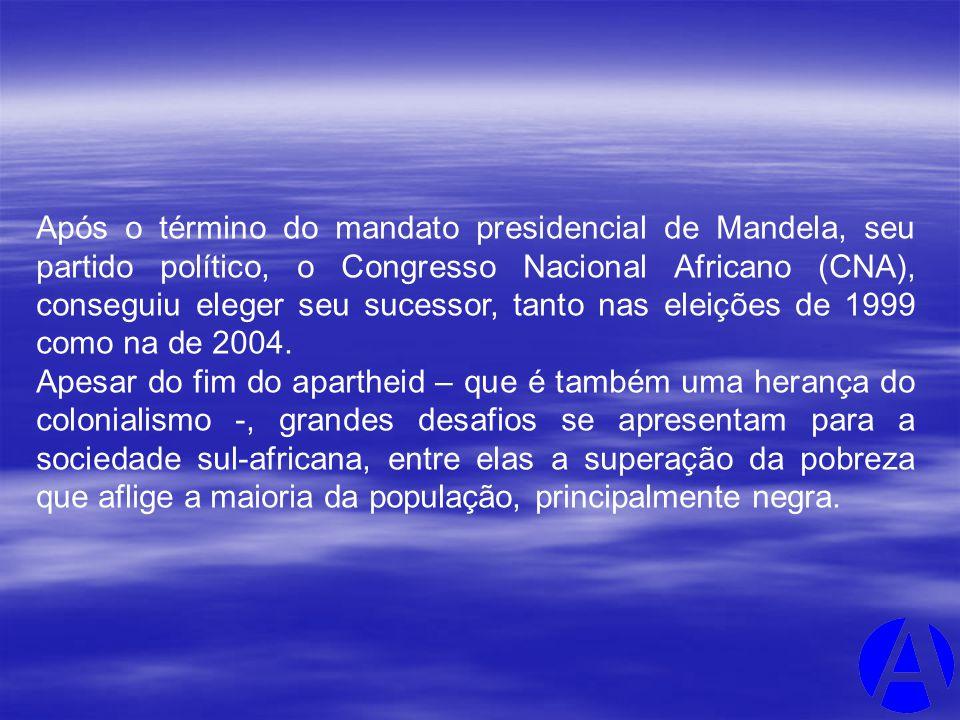 Após o término do mandato presidencial de Mandela, seu partido político, o Congresso Nacional Africano (CNA), conseguiu eleger seu sucessor, tanto nas