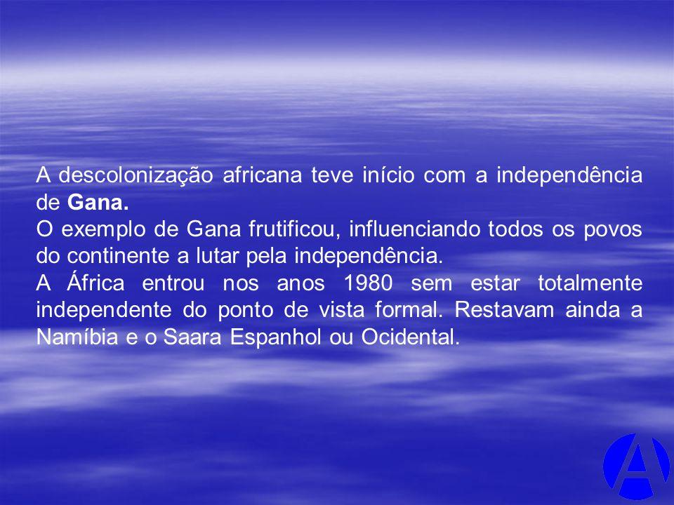 A descolonização africana teve início com a independência de Gana. O exemplo de Gana frutificou, influenciando todos os povos do continente a lutar pe