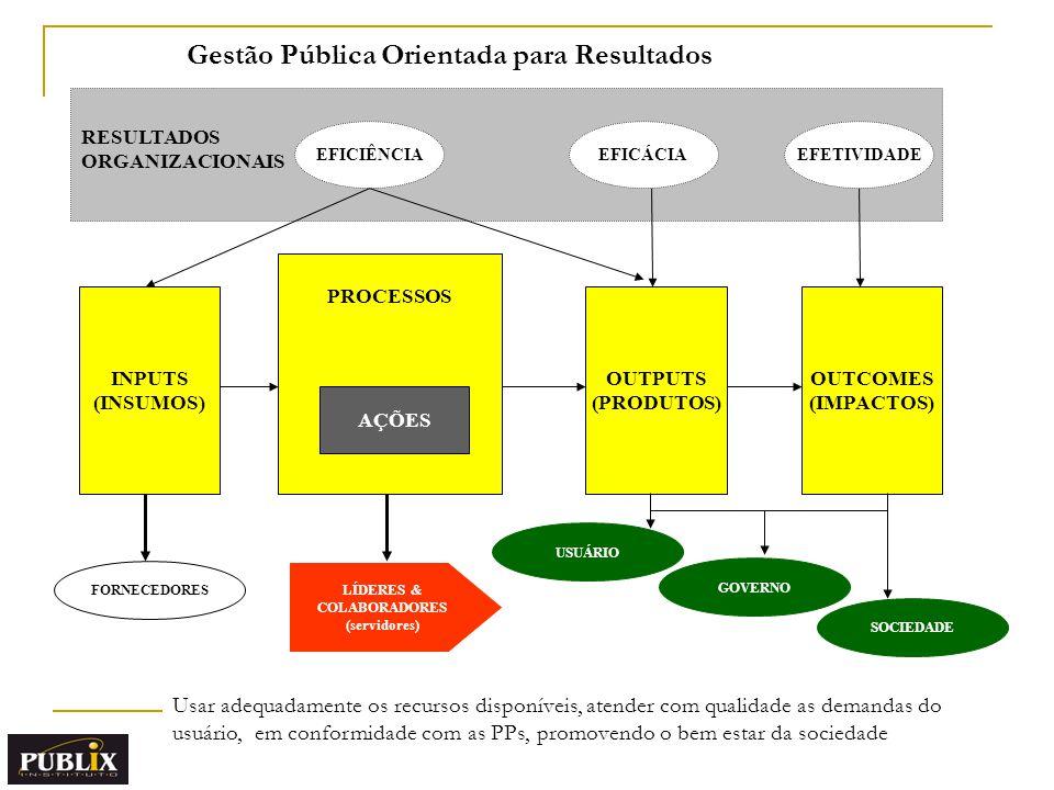 INPUTS (INSUMOS) PROCESSOS AÇÕES OUTPUTS (PRODUTOS) OUTCOMES (IMPACTOS) RESULTADOS ORGANIZACIONAIS FORNECEDORES USUÁRIO GOVERNO EFICIÊNCIAEFICÁCIAEFETIVIDADE SOCIEDADE LÍDERES & COLABORADORES (servidores) Usar adequadamente os recursos disponíveis, atender com qualidade as demandas do usuário, em conformidade com as PPs, promovendo o bem estar da sociedade Gestão Pública Orientada para Resultados