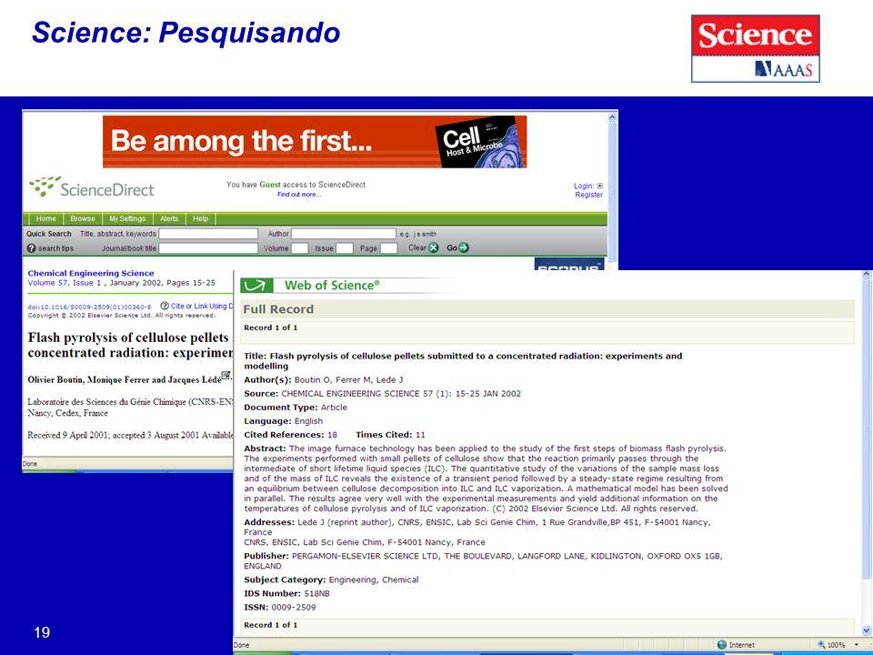 19 Science: Pesquisando