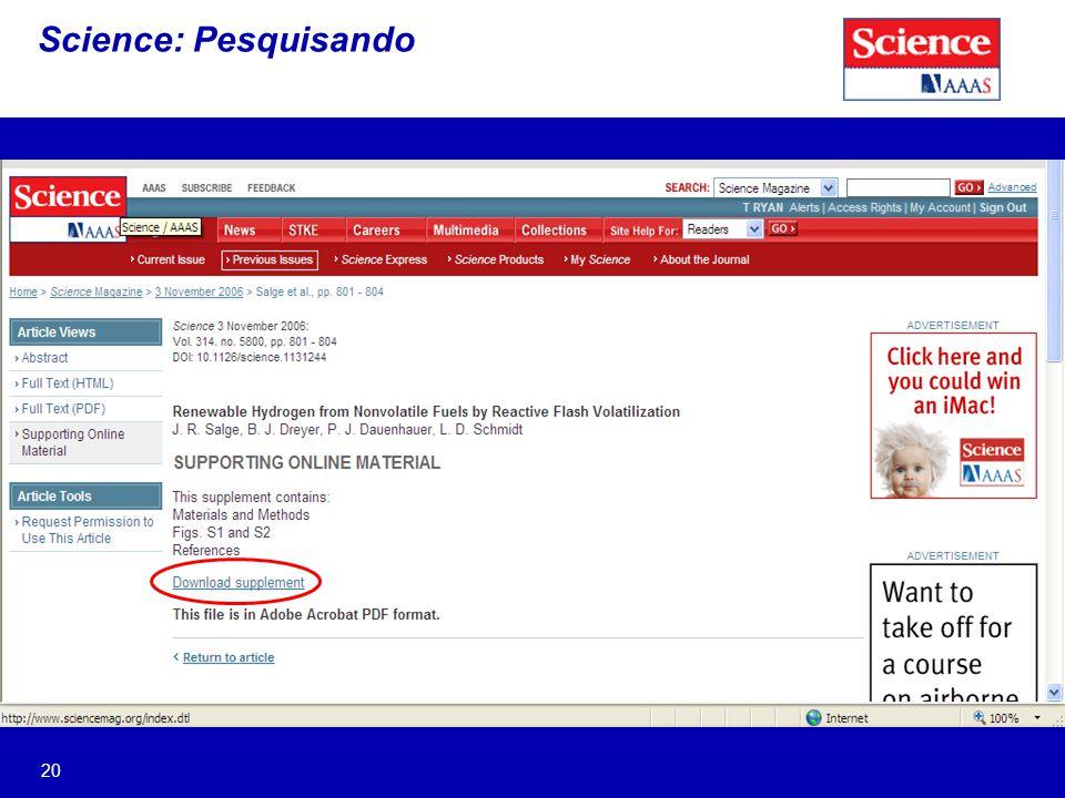 20 Science: Pesquisando