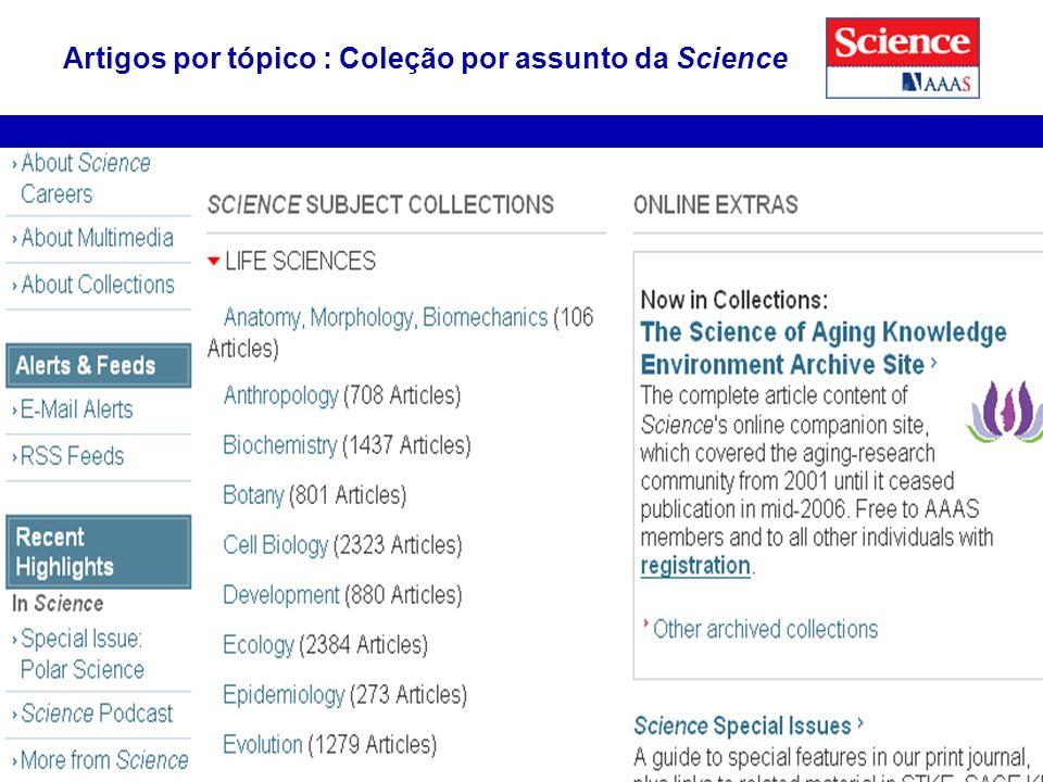 26 Artigos por tópico : Coleção por assunto da Science
