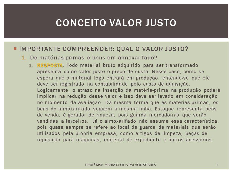 IMPORTANTE COMPREENDER: QUAL O VALOR JUSTO.1.De bens e direitos destinados à venda.
